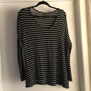 Distressed Stripped Slouch Sweater